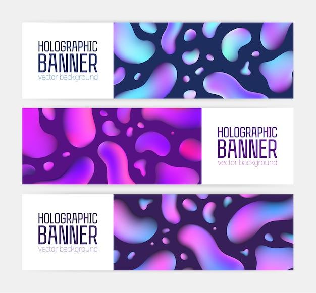 Raccolta di modelli di banner orizzontali alla moda con fantastica trama olografica, bolle colorate al neon