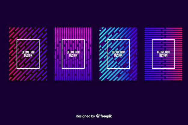 Raccolta di modelli di brochure linee geometriche gradiente