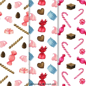 Raccolta di modelli di caramelle in stile acquerello