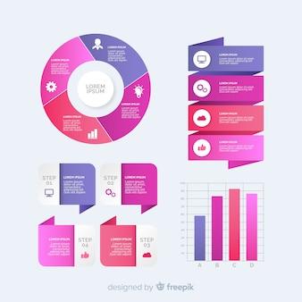 Raccolta di modelli di elementi infographic sfumati