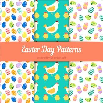 Raccolta di modelli di giorno di pasqua con uova e animali