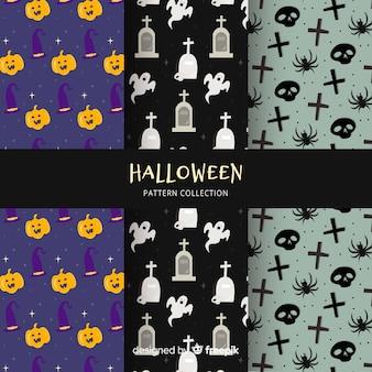 Raccolta di modelli di halloween in design piatto
