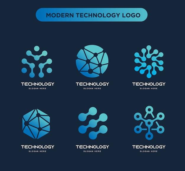 Raccolta di modelli di logo di tecnologia