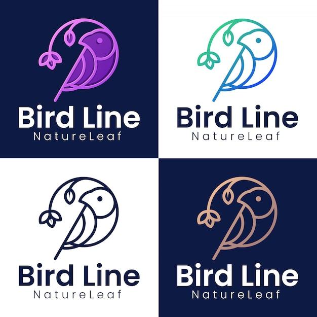 Raccolta di modelli di logo di uccelli con concetti di arte al tratto