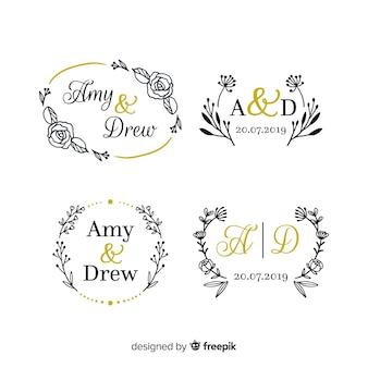 Raccolta di modelli di logo monogramma di nozze