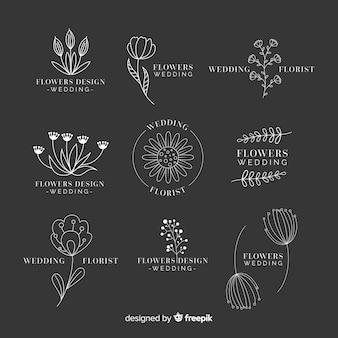 Raccolta di modelli di nozze fiorista logo