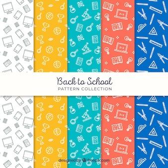 Raccolta di modelli di ritorno a scuola in diversi colori