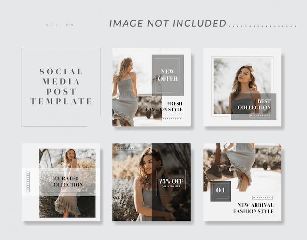 Raccolta di modelli di social media minimalista
