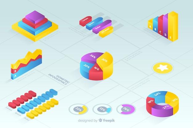 Raccolta di modelli di statistica colorata isometrica