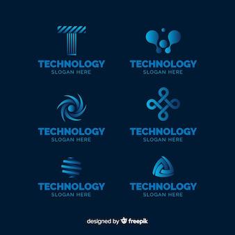 Raccolta di modelli logo tecnologia gradiente
