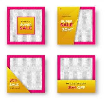 Raccolta di modello di vendita o progettazione di poster con dischi diversi