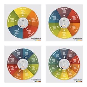 Raccolta di molti passaggi infografica elementi del diagramma del ciclo.