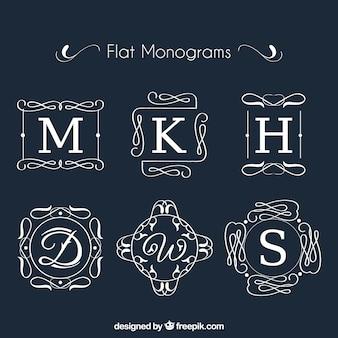 Raccolta di monogramma in disegno piatto