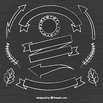 Raccolta di nastri, cornici e frecce in stile lavagna