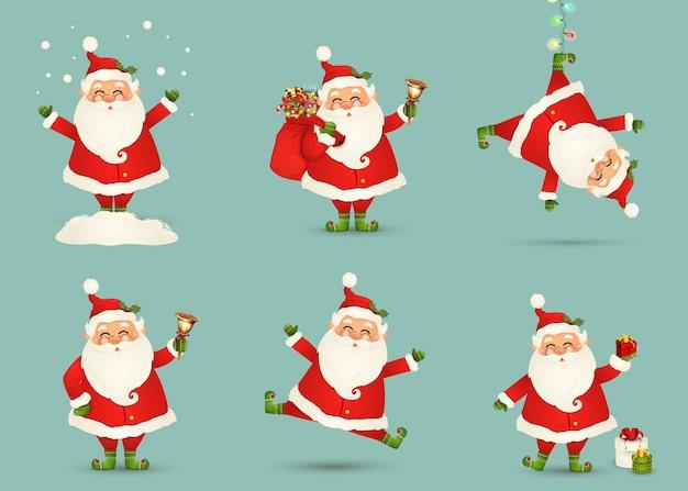 Raccolta di natale carino babbo natale isolato. set di natale di babbo natale allegro e divertente per le vacanze invernali. felice anno nuovo personaggio dei cartoni animati di babbo natale pronto. .