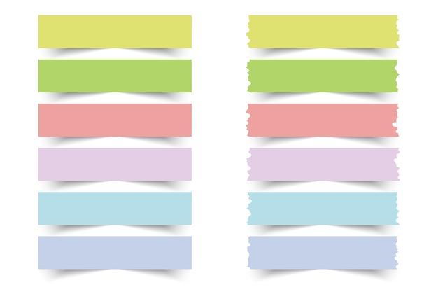 Raccolta di note adesive colorate.