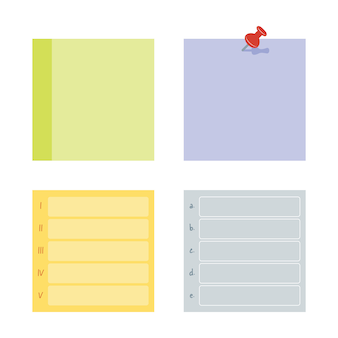 Raccolta di note adesive post. pubblicalo per promemoria di lavoro, promemoria per farlo. collezione di adesivi di carta per ufficio.