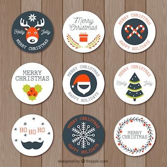 Raccolta di nove adesivi natalizi rotondi