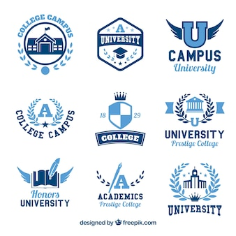 Raccolta di nove loghi per il college