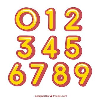 Raccolta di numeri gialli e rossi
