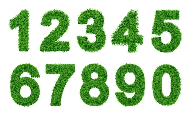 Raccolta di numeri l'erba verde ha riempito il personaggio. zero a nove, figure. illustrazioni vettoriali