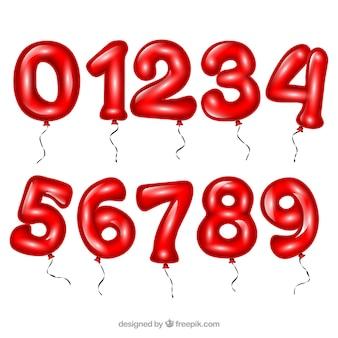 Raccolta di numeri rossi come palloncini