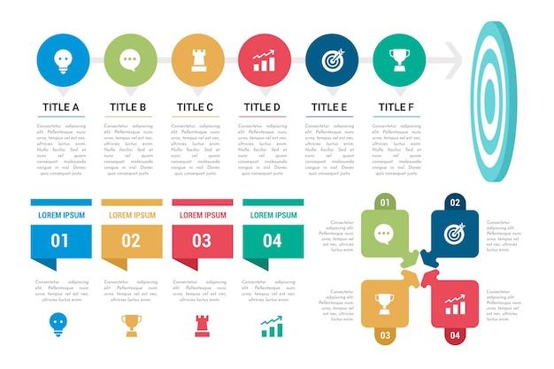 Raccolta di obiettivi colorati infografica