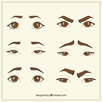 Raccolta di occhi disegnati a mano e schizzi sopracciglio