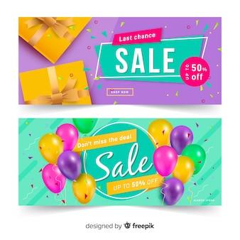 Raccolta di oggetti astratti vendita astratta di banner