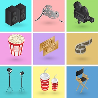 Raccolta di oggetti colorati di cinema o film in stile 3d.