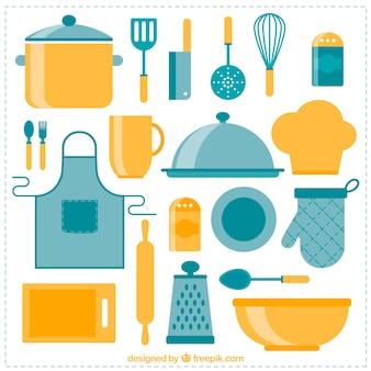Raccolta di oggetti da cucina in design piatto