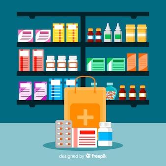 Raccolta di oggetti del farmacista piatto