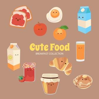 Raccolta di oggetti di cibo arcobaleno carino alice