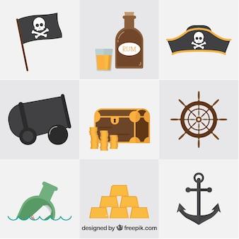 Raccolta di oggetti di pirata in disegno piatto