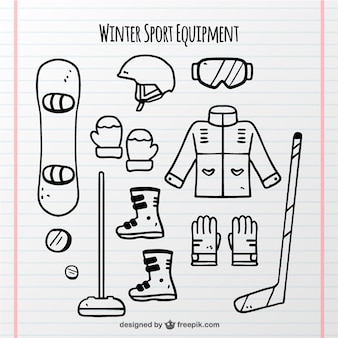 Raccolta di oggetti di sport invernali disegnati a mano
