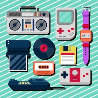 Raccolta di oggetti piatti anni ottanta