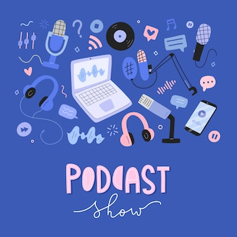 Raccolta di oggetti podcast, strumenti e attrezzature per la trasmissione, illustrazioni disegnate a mano