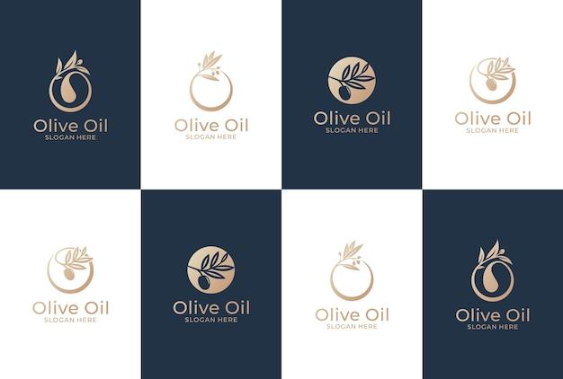 Raccolta di olive logo design. olio naturale e prodotto sano.