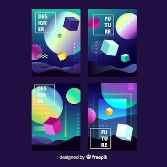 Raccolta di opuscoli galleggianti 3d poligono gradiente