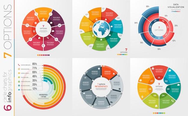 Raccolta di opzioni di modelli di grafici a cerchio.