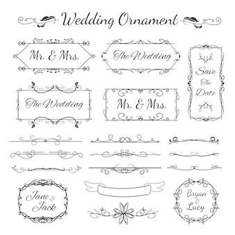 Raccolta di ornamento di nozze con design decorativo e floreale vintage