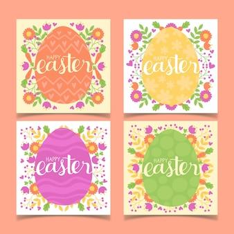 Raccolta di pasqua del instagram dei fiori e delle uova
