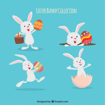 Raccolta di pasqua di conigli divertenti