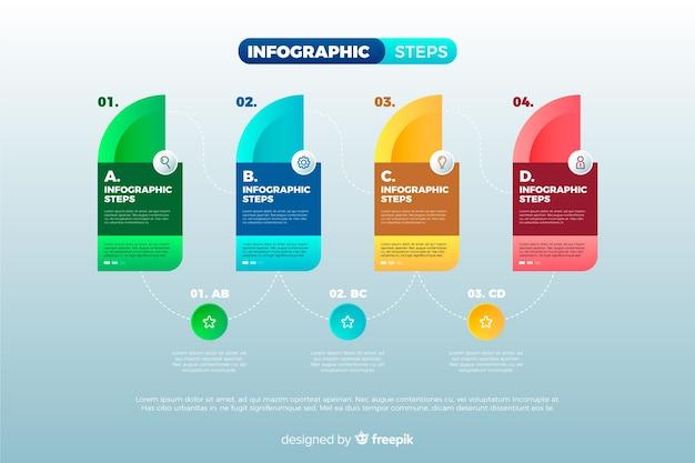 Raccolta di passaggi colorati infografica