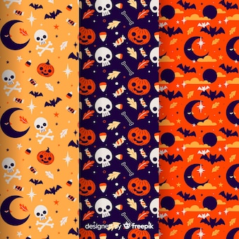 Raccolta di pattern di halloween su design piatto