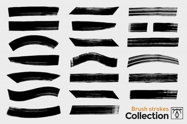 Raccolta di pennellate isolate. tratti di pennello dipinto a mano nero. grunge.