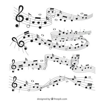 Raccolta di pentagramma con note musicali nere