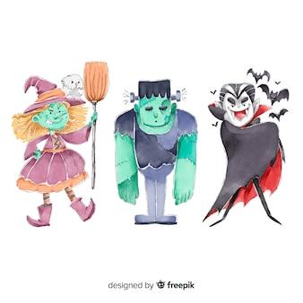 Raccolta di personaggi di halloween ad acquerello