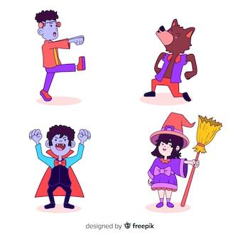 Raccolta di personaggi di halloween su design piatto