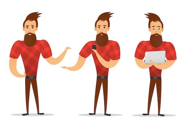 Raccolta di personaggio dei cartoni animati hipster in varie pose su fondo bianco.